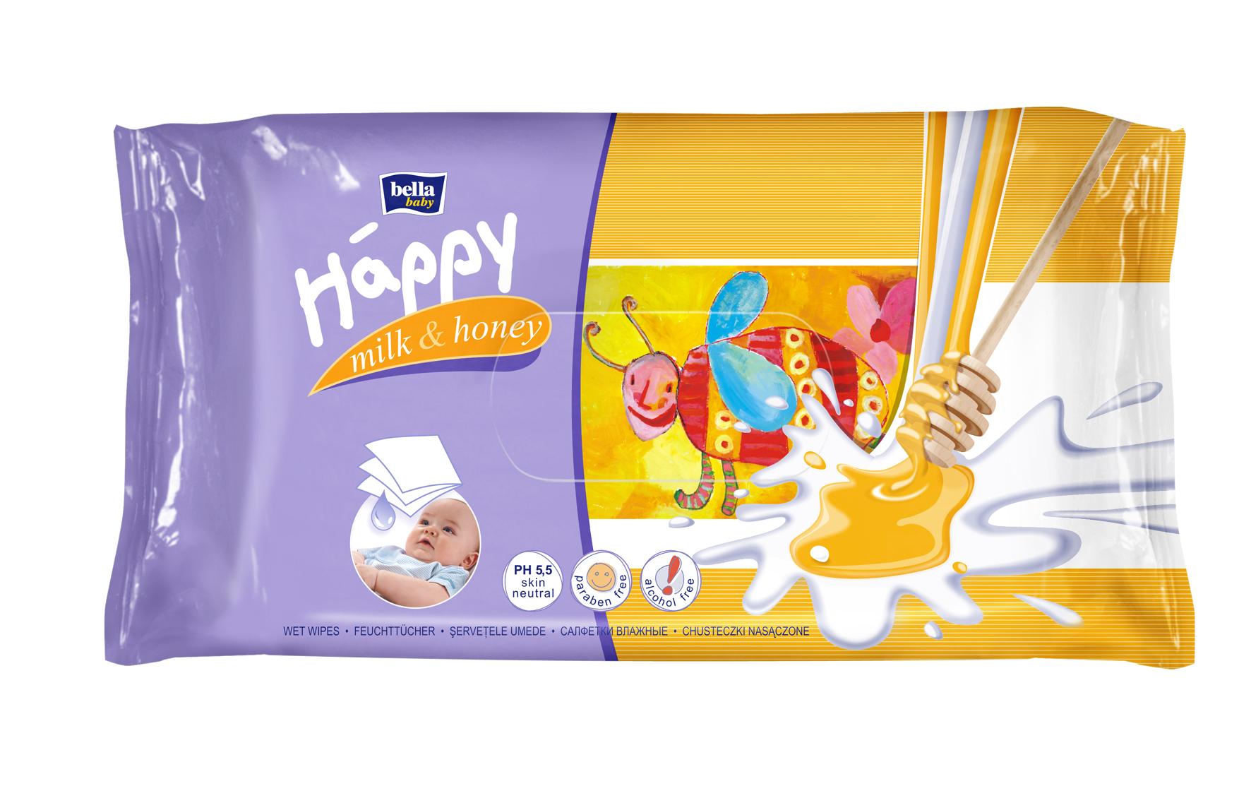 Bella Baby Happy Feuchtt/ücher mit Milch /& Honig 6x64 Stck.